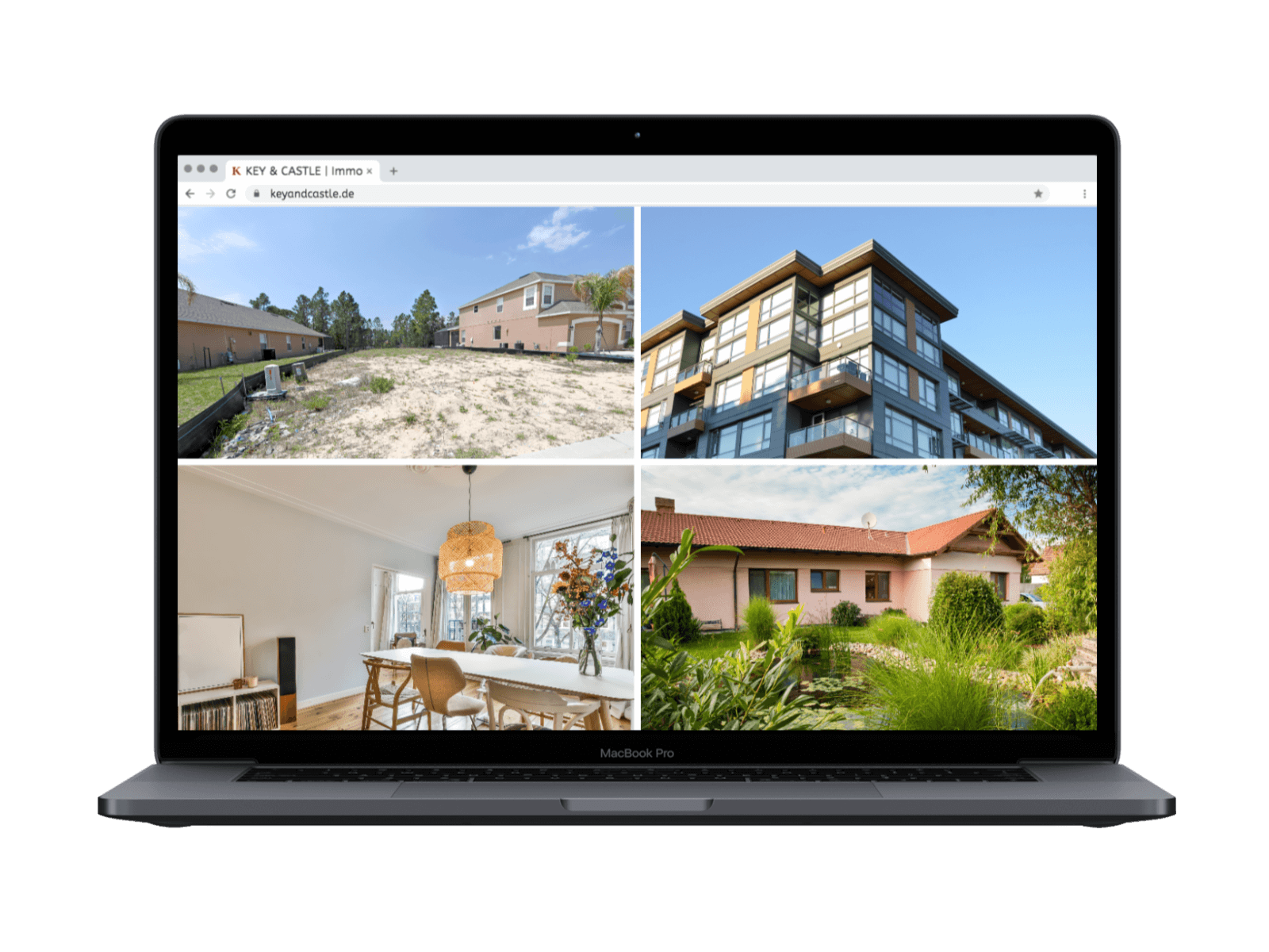MacBook von Apple mit Immobilien Bilder.